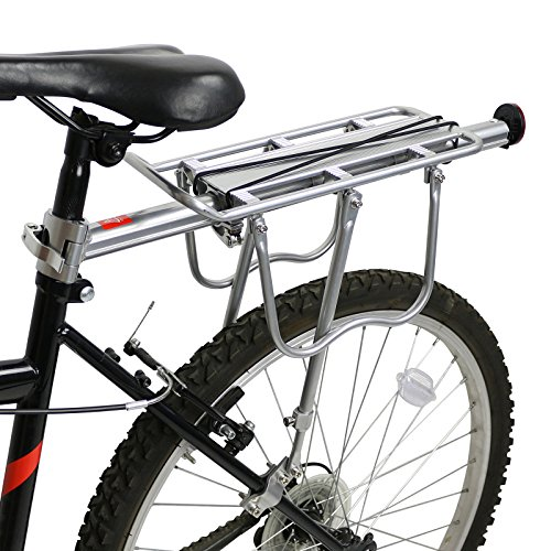 PedalPro Adjustable Rear Bicycle Pannier Rack with Reflector - Silv