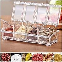 Jiya Enterprise Seasoning Storage Box Clear Spice Rack 4 Box with Spoons Container Jar for Spice Salt Sugar Cruet,...