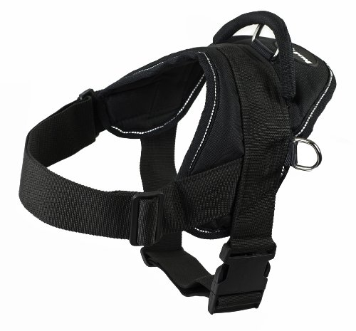 Dean and Tyler DT Dog Harness, Black With Reflective Trim, X-Large - Fits Girth Size: 34-Inch to 47-Inch