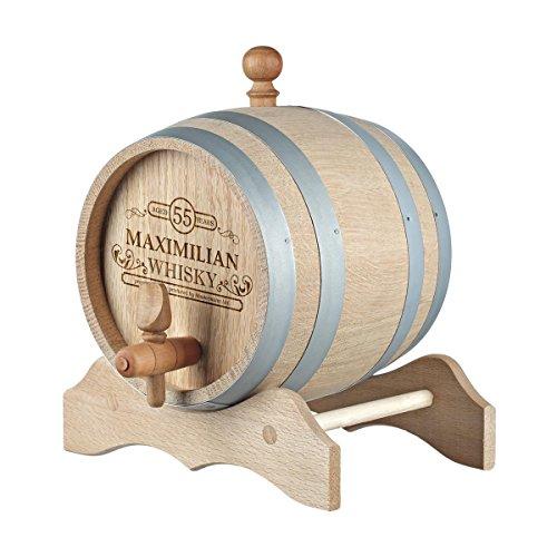 polar-effekt 1 Liter Holzfass Personalisiert mit Namens-Gravur - Geschenkidee zum Geburtstag für sie/ihn - Eichen-Fass für Whisky oder Wein - Motiv Produced by