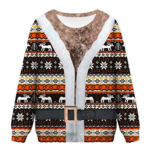 Buy Discount Women Ugly Christmas Pullover Sweatshirt 3D Print Funny Xmas Reindeer Snowflake Pullove...