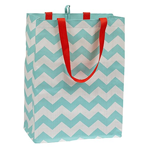 DII Reusable Shopping Bag For Farmers Markets Grocery Shopping Crafts Travel Sewing Everyday Use Set of 3 - Chevron