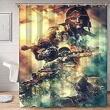 SSKJTC Accesorios de baño modernos Campo de batalla: Juegos para casa y hotel, cortina de baño de 123 x 183 cm