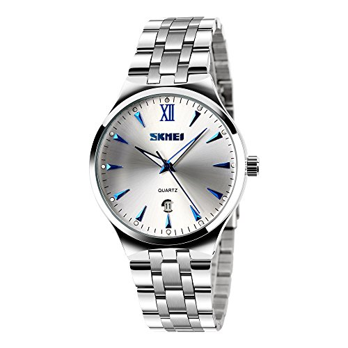 Classic Stainless Steel Watches for Men - Simple Designed Watches with Calendar Silver Wrist Watches