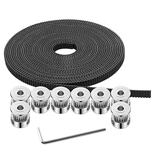 GT2 Timing Belt Pulley, 8pcs 5mm 20 Teeth Timing Pulley Wheel and GT2 5 Meters Rubber 2mm Pitch 6mm Wide Timing Belt with Allen Wrench for 3D Printer CNC by Beauty Star