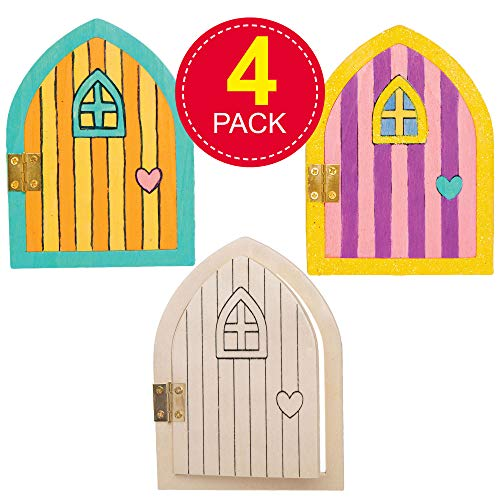 Baker Ross Wooden Fairy Doors, Ideal for Kids Arts and Craft Project, Educational Toys, Gifts, Keepsakes and More (4 Pack)