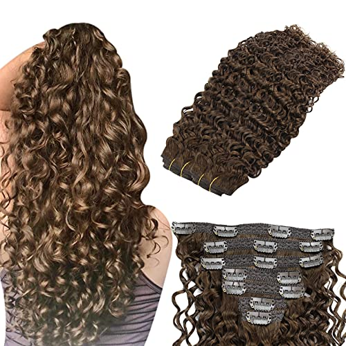 YoungSee Extensions Clips Cheveux Naturels Boucle Marron Foncé #4 7pcs/120g Afro Extension a Clip Cheveux Ondule Human Hair Double Weft Full Head 22 P