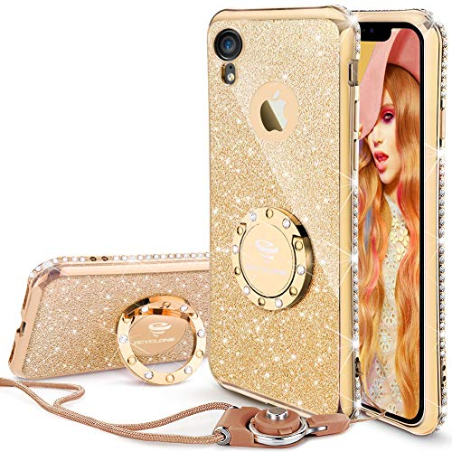 Cute iPhone XR Case, Glitter Luxury Bling Diamond Rhinestone Bumper with Ring Grip Kickstand Protective Thin Girly Pink iPhone XR Case for Women Girl - Gold