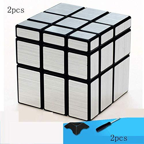 Cubo De Rubik Cubos De Rubik Juego De 2 Reflectores S, Parabrisas Plateado, Cubo De Velocidad Irregular 3x3x3 Cubo De Velocidad Caja Torcida Rompecabezas