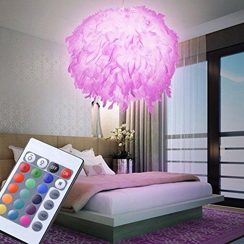 Pendel Lampe Fernbedienung Entenfeder Kugel Hänge Leuchte dimmbar im Set inkl. RGB LED Leuchtmittel