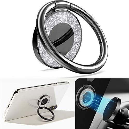 Allengel Phone Ring Holder Bling Metal Ring Grip Phone Finger Kickstand for Magnetic Car Mount Compatible with Samsung Galaxy/LG/Google Pixel All Smartphone-Black