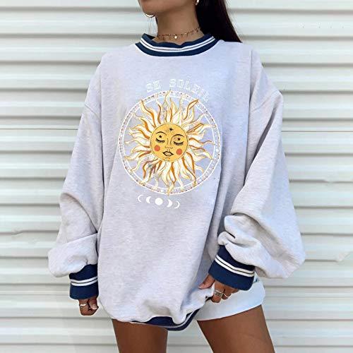 PKYGXZ Oberteile Damen Vintage Pattern Print Laternenärmel Oversized Sweatshirt Frauen Pullover Hoodies Lose Kleidung für Teenager T-Shirt Tops