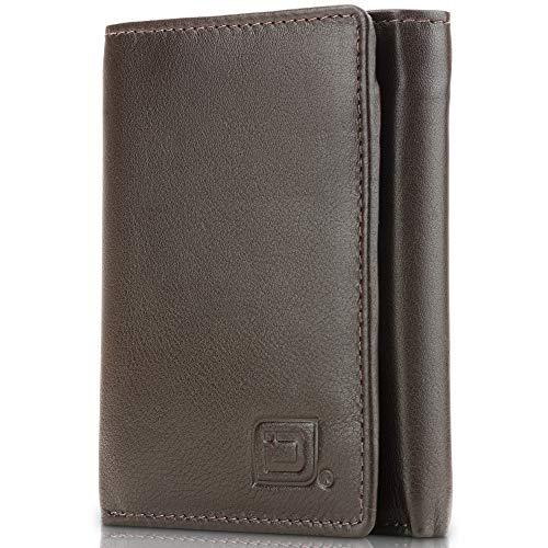 ID Stronghold Herren-börse, dreifach faltbar, RFID-blockierend, echtes Leder - Braun - Klein