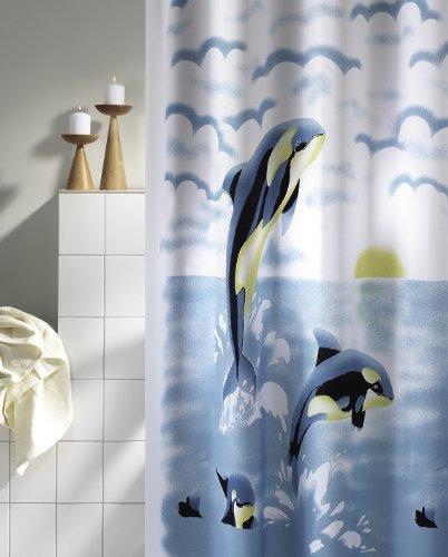Douchegordijn ORCA wit blauw geel 180cm breed x 200cm lang