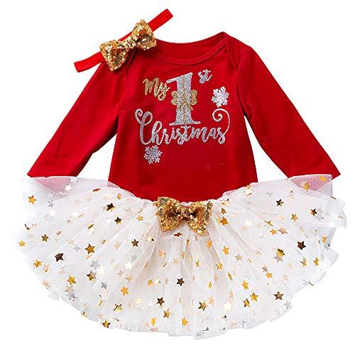 Bebé Navidad Conjunto de Trajes 2 Piezas, Marga Larga Monos + Tutu Falda + Venda Algodón Linda Ropa 3-6 Meses