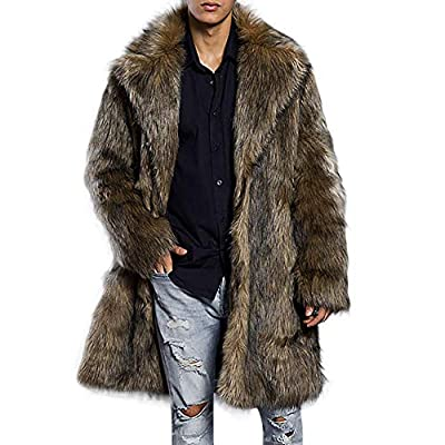 Allywit Men's Super Warm Thick Fake Faux Fur Coat Short Snow Outwears Duffle Jacket
