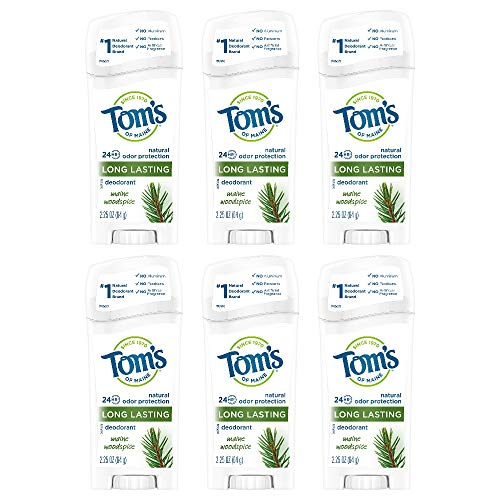 Tom's of Maine Natural Care Deodorant Solid, Woodspice, 2.25 Ounce, Pack of 6