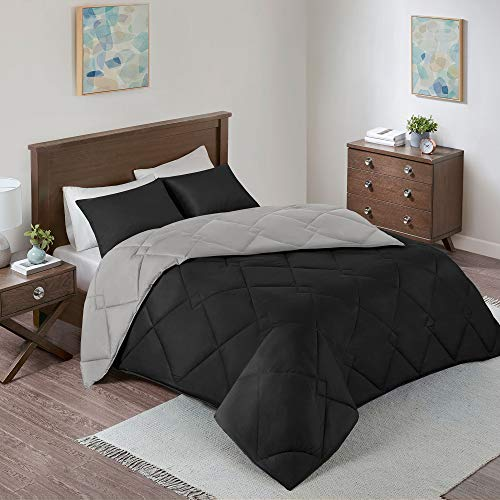 Comfort Spaces Vixie 3 Piece Comforter Set All Season Reversible Goose Down Alternative Stitched Geometrical Pattern Bedding, Full/Queen Size Black/Grey