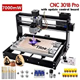 Upgrade Version 2 in 1 7000mW CNC 3018 Pro Engraver Machine,GRBL Control 3 Axis DIY Router Kit Plastic Acrylic PCB PVC Wood Carving Milling Engraving Machine with Offline Controller+10PCS Router Bit