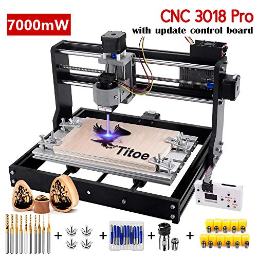 Upgrade Version 7W CNC 3018 Pro Engraver Machine,GRBL Control 3 Axis DIY Router Kit Plastic Acrylic PCB PVC Wood Carving Milling Engraving Machine with Offline Controller+10PCS Router Bits+Er11