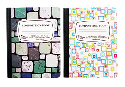 "2-Pack Composition Notebook, 9-3/4"" x 7-1/2"", Wide Ruled, 100 Sheet (200 Pages), Weekly Class Schedule and Multiplication/Conversion Tables - Styles: Tiles, Flowers, Shapes, Spots (2-Pack,Random)"