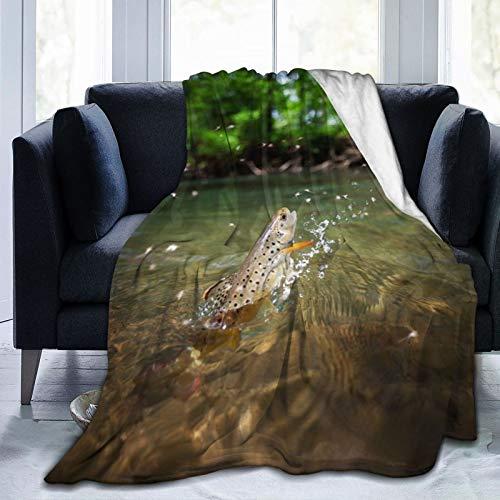 Affordable shop Manta de forro polar de 127 x 152 cm – marrón trucha saltando fuera del agua casa franela suave cálida manta de felpa para cama/sofá/oficina/camping
