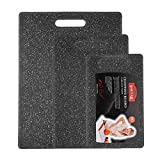 Cutting Board Set for Kitchen, New Design Marble Look Plastic Chopping Board Set 3 Piece Food Safe BPA Free Dishwasher Safe (Set of Three, Black)