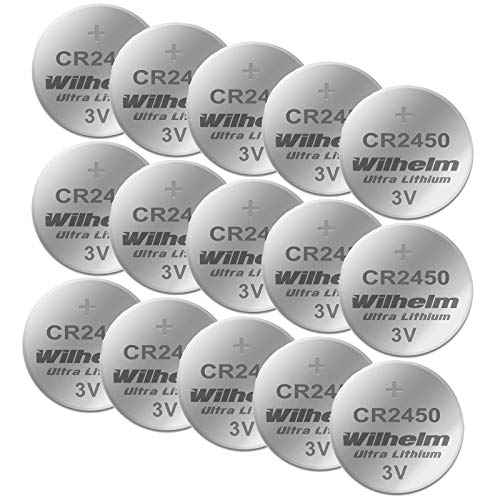 15 x CR2450 WILHELM Lithium Knopfzelle 3V 600mAh ø24,5x5,0mm Batterie DL 2450