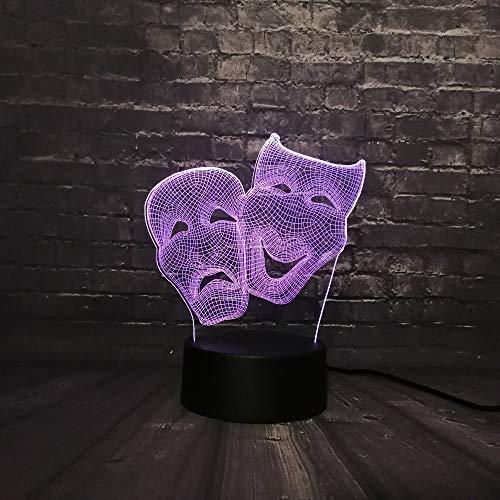 Dionisio Comedia Y La Máscara De Comercio 3d Led Noche Diagrama De Luz De Dibujos Animados Personaje De Lava Cordero Decoración 7 Cambio De Color Boy Juguetes Toque 7 cambio de color