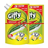 Giffy Lemon & Active Salt Concentrated Dish Wash Gel by Wipro, 1000ml(Pack of 2)