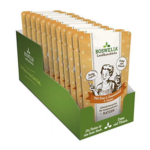 Boswelia Landhausküche 12x Frischebeutel Landhausküche Katze Ente mit Borretschöl 100 g für Sensible Tiere geeignet hohe Bioverfügbarkeit, Beste Qualität gesunder Stoffwechsel Dank Taurin