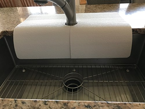 Kitchen sink faucet splash guard/protects area around faucet...