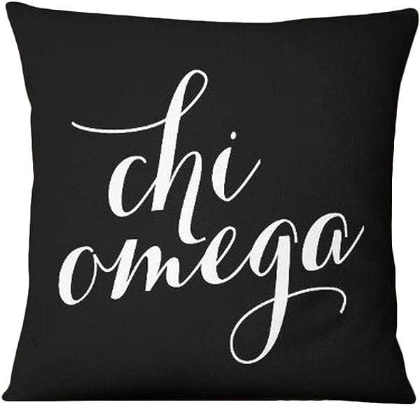 Greekgear Chi Omega Chi O Script Pillow Black