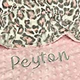 Pink Leopard Baby Blanket, Leopard Blush Hide with Blush Pink Hide Minky, Personalized Baby Blanket, Baby Blanket, baby shower gift, Double Minky Plush baby blanket, Woodland Baby Blanket Gift