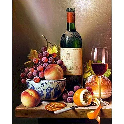 BJWQTY Pintura Digital Uvas Vino Adulto Regalo Artesanal acrílico Pintado Sala de Estar decoración del hogar