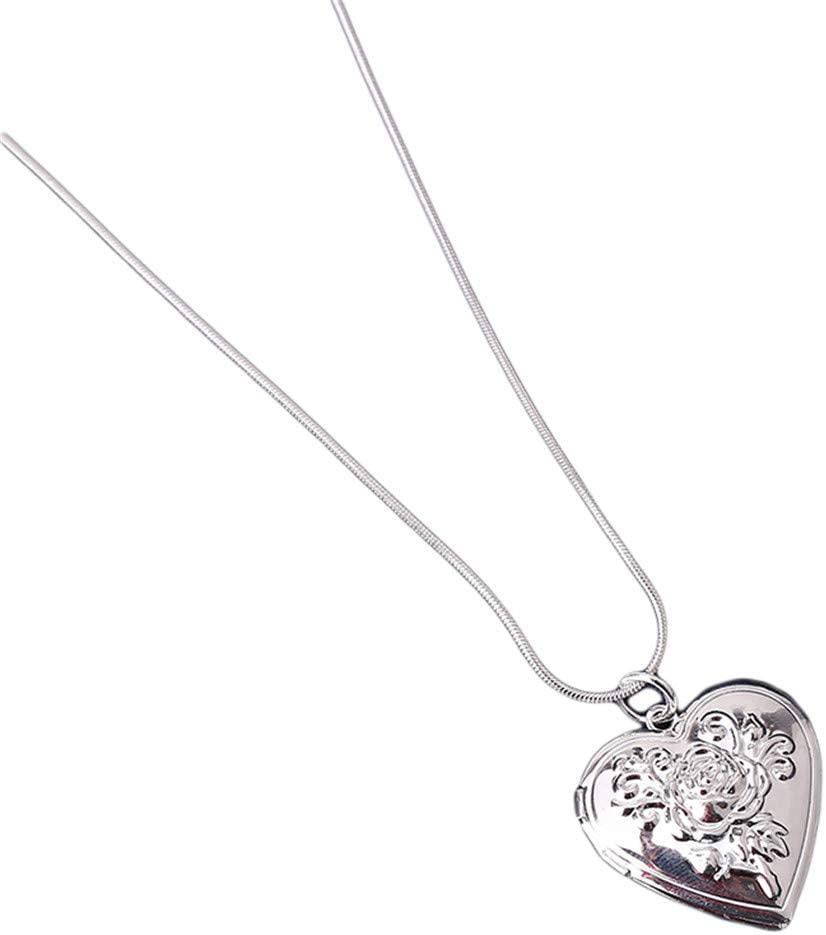 Timesuper Max 58% OFF Silver Plated Rose Flower Photo store Shaped Heart Modeling