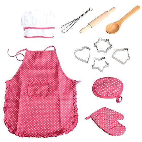 Deluxe-set bestaande uit: Schort - Hoed - Pannenlap - vormen - deegrol - lepel eenheidsmaat kleur kleur roze cadeau-idee voor meisjes