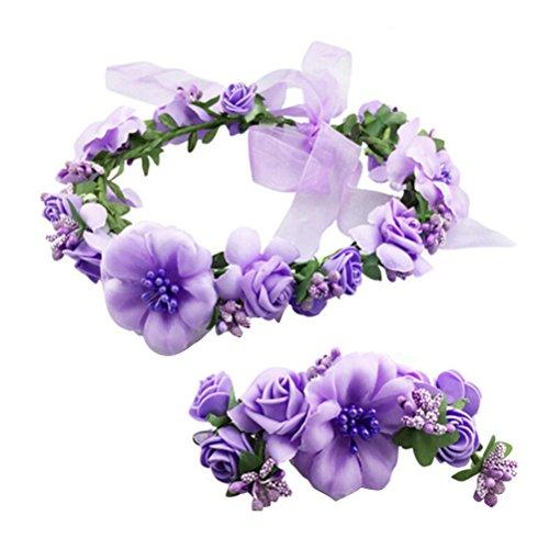 Frcolor Blume Krone Stirnbänder, Blumenkranz Garland Stirnbänder Haar Kranz mit Blume Armband für Hochzeit Festival Party (lila)