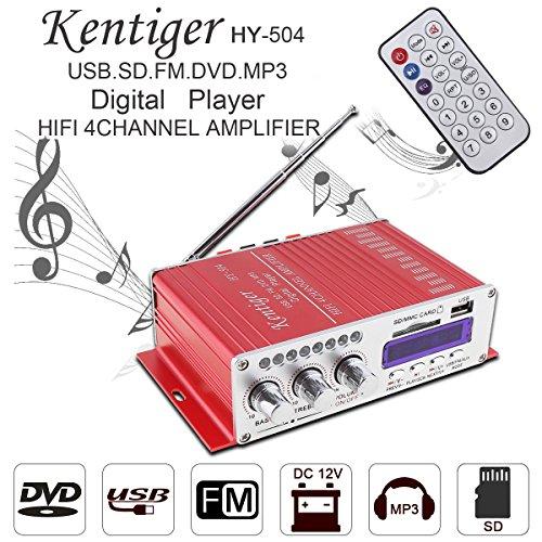 Amplificateur audio de voiture haute puissance radio FM support entrée SD/USB/DVD/MP3 pour voiture ou moto 4 CH x 41 W Hi-FI