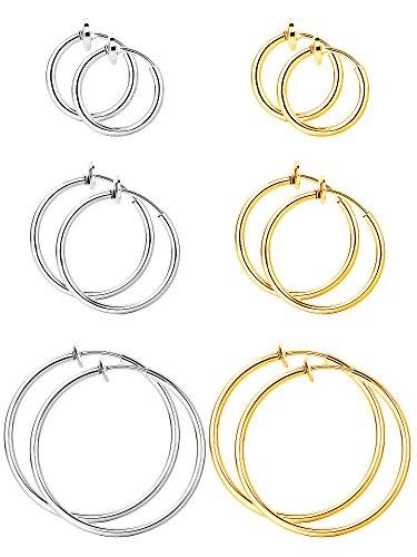 BBTO 6 Paar Fälschung Ohrringe Hoop Nicht Durchbohrte Nasenring Frühling Creolen Lippe Ohrclip Körperschmuck, Multi-Größe, Stahl und Gold Farbe