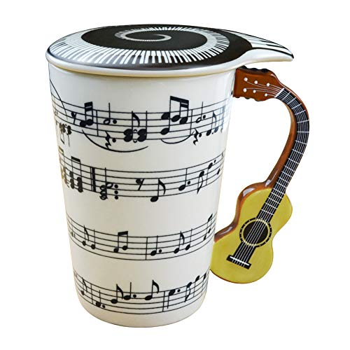 Mug Cup With Guitar Handle And Art Musical Notes Holds 13.5 Oz, Tea Coffee Milk Ceramic Mug Gift For Music Lover