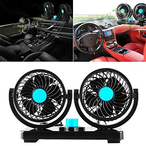 CARMATE Car Fan 12V 360 Degree Rotatable Dual Head 2 Speed Dashboard Auto Cooling Air Fan - Universal Fitment for All Cars