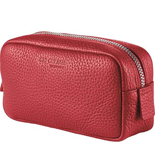 CHI CHI FAN Kosmetiktasche klein - Rot | Damen Schminktasche aus echtem Leder | Top Qualität und stylish-klares Design treffen auf maximale Funktion und viel Stauraum für Lippenstift, Puder und Co