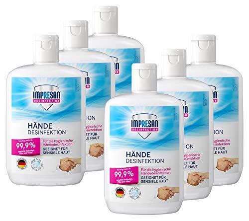 Impresan Hände Desinfektion: Flüssiges Desinfektionsmittel - hygienische Handdesinfektion 6 x 150ml