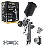 Master Pro 22 Series High-Performance HVLP Touch Up Spray Gun with 1.0mm Tip and Air Pressure Regulator Gauge - Detail Paint Sprayer, Spot and Panel Repairs, Door Jambs - Auto Basecoats, Clearcoats