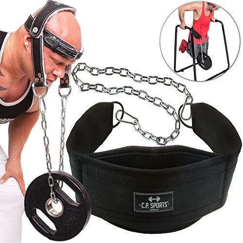 C.P.Sports Set dip-riem dipriem + nektrainer leer dipping Belt, optrekband riem, nekbuilder, nektrainer met stabiele ketting, bodybuilding, krachttraining