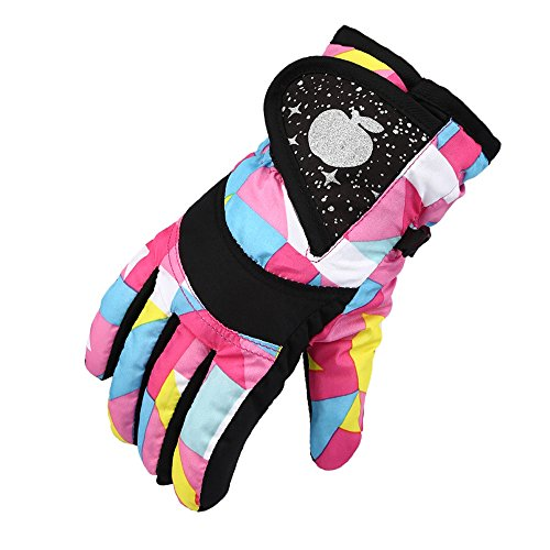 Kids Snow Gloves, Waterproof Winter Gloves With Adjustable Buckle For Girls