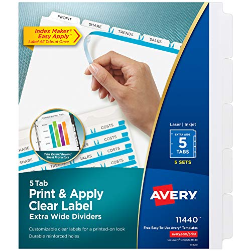 Avery 5-Tab Extra Wide Binder Dividers, Easy Print & Apply Clear Label Strip, Index Maker,White, 5 Sets (11440)