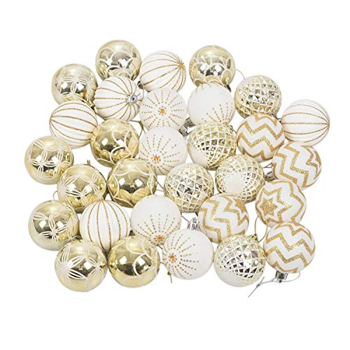 TaoToa 30 bolas de oro blanco para decoración de árbol de Navidad de alta calidad para decoración de fiesta de Navidad del hogar