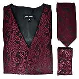 Paul Malone Wine Red and Black Paisley Tuxedo Vest Set